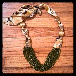 Anthropologie Beaded Silk tie necklace